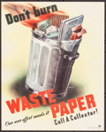 """Movie Posters:War, World War II Propaganda (Division of Information Office forEmergency Management, 1940s). Poster (17.5"""" X 22.75"""") """"Don't bur..."""