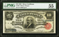 Large Size:Silver Certificates, Fr. 299 $10 1891 Silver Certificate PMG About Uncirculated 55.. ...