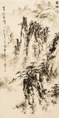 Asian:Chinese, A Chinese Landscape Watercolor Painting Attributed to Dong Shouping(1904-1997). Marks: Nine red artist's seals. 41-3/4 inch...
