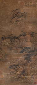 Asian:Chinese, A Chinese Ink and Watercolor Painting After Shi Tao. Marks: Threered artist's seals. 54 inches high x 27 inches wide (137.2...
