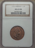 Colonials, 1723 1/2 P Hibernia Halfpenny MS65 Red and Brown NGC. M. 4.74-Gb.11, W-13120, R.4....