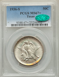 1936-S 50C Texas MS67+ PCGS. CAC. PCGS Population: (129/3 and 26/1+). NGC Census: (86/7 and 7/0+). CDN: $475 Whsle. Bid...