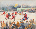 Hockey Collectibles:Others, 1930's New York Rangers vs. Detroit Red Wings Original Painting by 1932 Gold Medal Winner Joseph Golinkin....