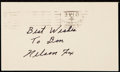 Autographs:Post Cards, 1953 Nellie Fox Signed Government Postcard.. ...