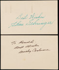 Autographs:Post Cards, 1953 Charlie Gehringer & Mickey Cochrane Signed GovernmentPostcards.. ...
