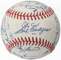 Autographs:Baseballs, 1970-73 Baseball Greats and Hall of Famers Multi-Signed Baseball(19 Signatures) with Mantle, Hodges, Frick, & Kerr.. ...