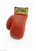 Boxing Collectibles:Autographs, Thomas Hearns & Virgil Hill Signed Glove. Perfect gold sharpie signature from each on an Everlast glove. LOA from Steve G...