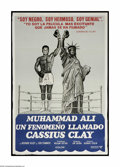 """Boxing Collectibles:Memorabilia, Muhammad Ali Spanish Movie Poster. One-sheet (27x41"""") movie poster shows moderate wear at edges, but could certainly be lin..."""
