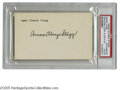 """Football Collectibles:Others, Amos Alonzo Stagg Signed Index Card. Perfect black ink signature on unlined side of 3x5"""" index card. LOA from Steve Grad ..."""
