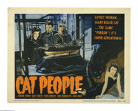 """Cat People (RKO, R-1952). Lobby Card (11"""" X 14""""). This is a vintage, theater used lobby card for this eerie dr..."""