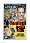 "Movie Posters:Adventure, Outside the Three Mile Limit (Columbia, 1940). One Sheet (27"" X41""). This is a vintage, theater used folded poster for this..."