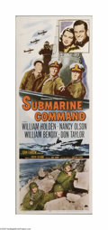 "Movie Posters:War, Submarine Command (Paramount, 1951). Insert (14"" X 36""). This is avintage, theater used poster for this war drama that was ..."