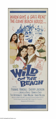 "Wild on the Beach (20th Century Fox, 1965). Insert (14"" X 36""). This is a vintage, theater used poster for thi..."