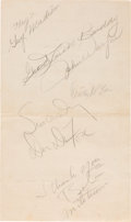 Movie/TV Memorabilia:Awards, Robert Mitchum, John Wayne and Others Signed Menu (1945)....
