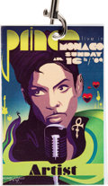 Music Memorabilia:Memorabilia, Prince's Personal Live in Monaco Artist Backstage Pass, Sunday, August 16th, 2009....