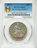 Proof Seated Half Dollars, 1873 50C No Arrows, Closed 3, PR62 PCGS Secure. PCGS Population: (44/122 and 0/3+). NGC Census: (28/99 and 0/1+). CDN: $775...