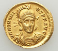 Ancients:Roman Imperial, Ancients: Honorius (AD 393-423).AV solidus (4.31 gm). AboutXF, clipped, graffito....