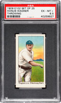 "Baseball Cards:Singles (Pre-1930), Very Rare 1909 E102 ""Set of 25"" Honus Wagner, Throwing PSA EX-MT+6.5 - The Finest Known Example In The Hobby! . ..."