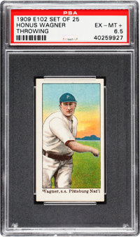 "Very Rare 1909 E102 ""Set of 25"" Honus Wagner, Throwing PSA EX-MT+ 6.5 - The Finest Known Example In The Hobby!..."