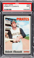 Baseball Cards:Singles (1970-Now), 1970 Topps Roberto Clemente #350 PSA Mint 9 - Only One Higher....