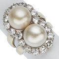 Estate Jewelry:Rings, Cultured Pearl, Diamond, Platinum, White Gold Ring. ...