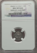 Chile, Chile: Republic 1/2 Real 1844 So-IJ UNC Details (Surface Hairlines)NGC,...