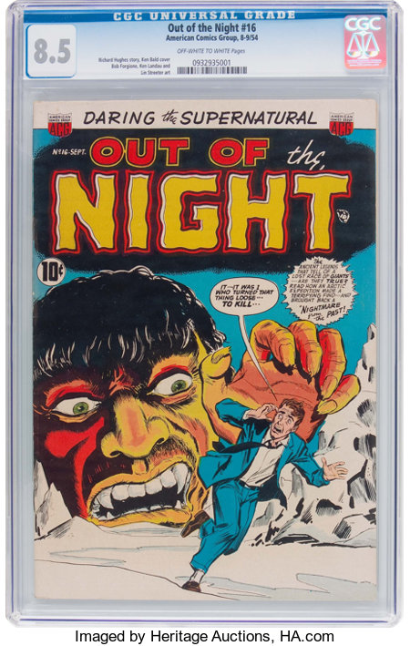 Out of the Night #16 (ACG, 1954) CGC VF+ 8.5 Off-white to white pages....