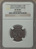 Colombia:Santa Marta, Colombia: Santa Marta. Republic 1/4 Real 1820 XF40 Brown NGC,...