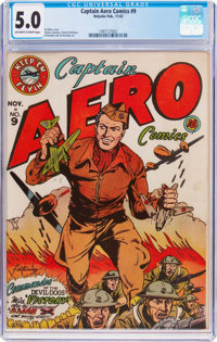 Captain Aero Comics #9 (Holyoke Publications, 1942) CGC VG/FN 5.0 Off-white to white pages