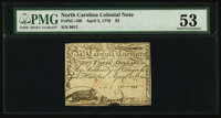 North Carolina April 2, 1776 $3 Alligator at top Beaver on left. PMG About Uncirculated 53