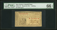 New Jersey March 25, 1776 1s PMG Gem Uncirculated 66 EPQ