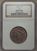 Large Cents, 1816 1C N-2, R.1, MS63 Red and Brown NGC....