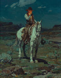 American:Western, Frank Tenney Johnson (American, 1874-1939). A Light in theNight, 1936. Oil on Masonite. 20 x 16 inc...