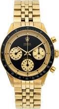 "Timepieces:Wristwatch, Rolex, Very Fine and Rare 14k Gold Ref. 6241 ""Paul Newman"" Cosmograph Daytona ""John Player Special"", Circa 1969. ..."