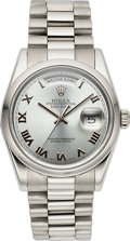 Timepieces:Wristwatch, Rolex Ref. 118206 Platinum Oyster Perpetual Day-Date, circa 2001....