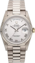 Timepieces:Wristwatch, Rolex Ref. 18239 Gent's White Gold Day-Date President. ...