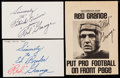 Autographs:Index Cards, Red Grange Signed Index & Cut Lot of 3.. ...