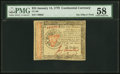 Colonial Notes:Continental Congress Issues, Continental Currency January 14, 1779 $55 PMG Choice About Unc 58.. ...