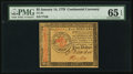 Colonial Notes:Continental Congress Issues, Continental Currency January 14, 1779 $5 PMG Gem Uncirculated 65 EPQ.. ...