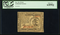 Continental Currency November 29, 1775 $3 PCGS Choice New 63PPQ
