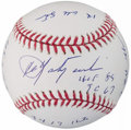 Autographs:Baseballs, Carl Yastrzemski Single Signed Stat Baseball, PSA/DNA Mint 9.. ...
