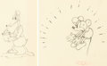 Animation Art:Production Drawing, The Dognapper Dessins d'animation de Mickey Mouse and DonaldDuck Lot de 2 (Walt Disney, 1934).... (Total: 2 Original Art)