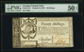 Colonial Notes:Georgia, Georgia October 16, 1786 20s PMG About Uncirculated 50 EPQ.. ...
