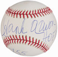 Autographs:Baseballs, Hank Aaron Single Signed Stat Baseball.. ...