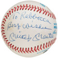 "Autographs:Baseballs, Mickey Mantle ""To Rebbecca"" Single Signed Baseball.. ..."