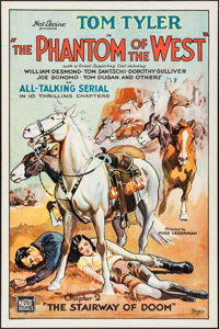 """The Phantom of the West (Mascot, 1931). One Sheet (27"""" X 41""""). Chapter 2 -- """"The Stairway of Doom.""""..."""