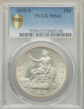 Trade Dollars: , 1875-S T$1 MS62 PCGS Secure. PCGS Population: (226/524 and 3/26+).NGC Census: (202/376 and 0/6+). MS62. Mintage 4,487,000....