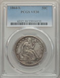 Seated Half Dollars: , 1864-S 50C VF30 PCGS. PCGS Population: (30/122). NGC Census: (5/53). CDN: $280 Whsle. Bid for problem-free NGC/PCGS VF30. M...