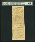 Colonial Notes:Massachusetts, Massachusetts October 16, 1778 Vertical Strip of Three 6d, 1s 6d, 2s PMG Choice Uncirculated 64.. ...