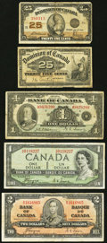 Canadian Currency, A Quintet of Assorted Canadian Notes.. ... (Total: 5 notes)